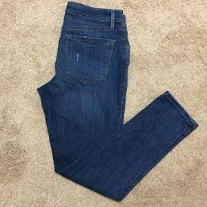 Loft lightly distressed straight leg jeans, size 6